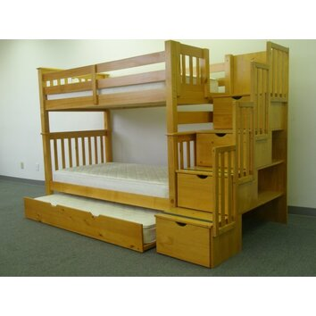 bedz king twin bunk bed with storage reviews wayfair. Black Bedroom Furniture Sets. Home Design Ideas