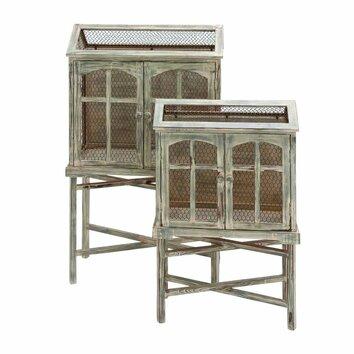 Cole grey decorative 2 piece bird cage set wayfair for Decor containers coles