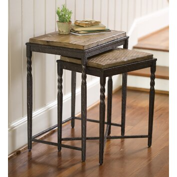 Plow Amp Hearth Metal And Wood Nesting Tables Set Of 2
