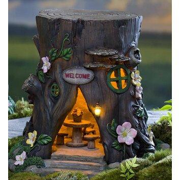 Plow Amp Hearth Miniature Fairy Garden Solar Welcome House