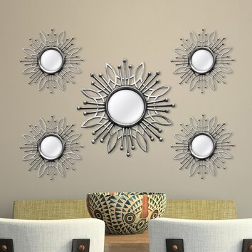Stratton Home Decor 5 Piece Burst Wall Mirror Set ...