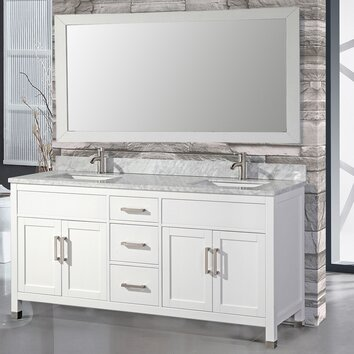 MTDVanities Ricca 72 Double Sink Bathroom Vanity Set With Single Mirror