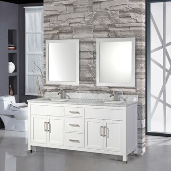 MTDVanities Ricca 84 Double Sink Bathroom Vanity Set With Mirror