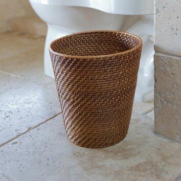 Kouboo round rattan waste basket reviews wayfair - Rattan waste basket ...