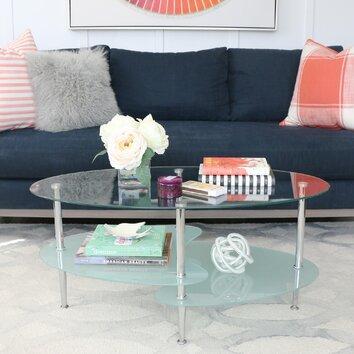 Wade Logan Jean Glass Oval Coffee Table Reviews Wayfair