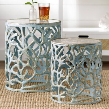 Beachcrest Home 2 Piece Mother Of Pearl End Table Set