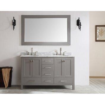 Eviva Aberdeen 72 Quot Double Modern Bathroom Vanity Set Wayfair