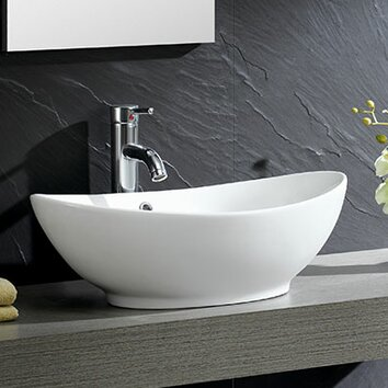 Fine Fixtures Modern Vitreous Oval Vessel Bathroom Sink