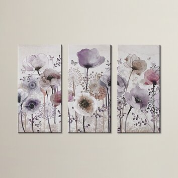 Lily Manor Classic Poppy 3 Piece Graphic Art Wrapped On