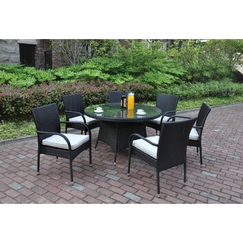JB Patio 7 Piece Dining Set with Cushions | Wayfair