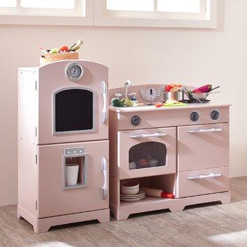 Large Girls Kids Pink Wooden Play Kitchen Children's Role ...