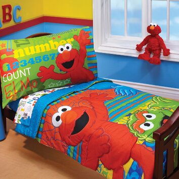 Sesame Street ABC 123 4 Piece Toddler Bedding Set ...