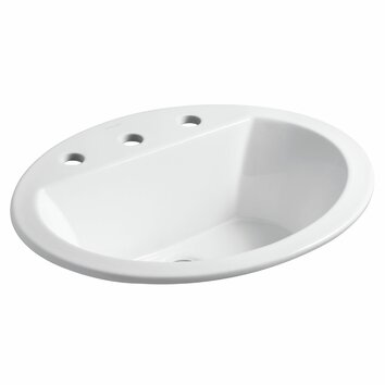 kohler bryant oval drop in bathroom sink with 8 widespread faucet holes reviews wayfair. Black Bedroom Furniture Sets. Home Design Ideas