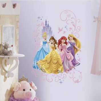 Room mates disney princess wall decal reviews wayfair for Barbie princess giant wall mural