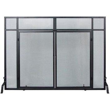 Minuteman Windowpane 4 Panel Wrought Iron Fireplace