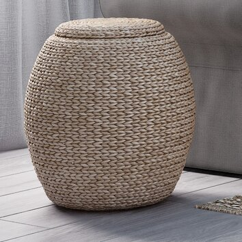 Beachcrest Home Hookton Wicker Storage Basket With Lid
