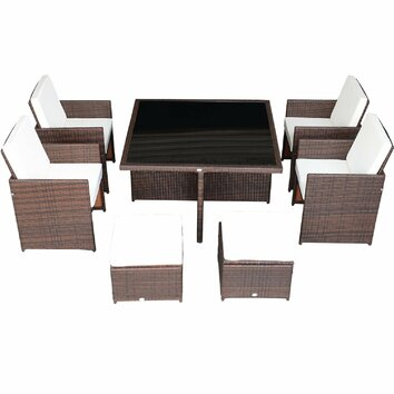 Aosom outsunny 9 piece outdoor pe rattan wicker nesting for Aosom llc outsunny chaise lounge
