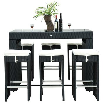 Aosom outsunny 7 piece bar set with cushions reviews for Aosom llc outsunny chaise lounge