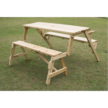 Outsunny Convertible Table And Picnic Bench Amp Reviews