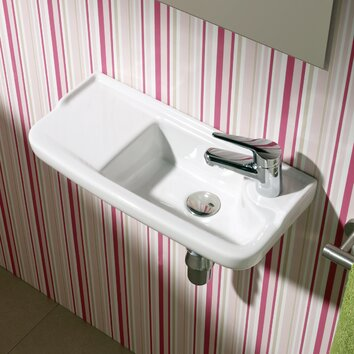 Bissonnet universal oxigen wall hung ceramic bathroom sink for Ceramic bathroom bin