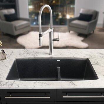 Blanco performa 33 x 19 silgranit ii double bowl undermount kitchen sink reviews wayfair - Advantages disadvantages undermount kitchen sinks ...