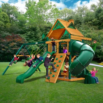 Gorilla Playsets Mountaineer Swing Set With Wood Roof