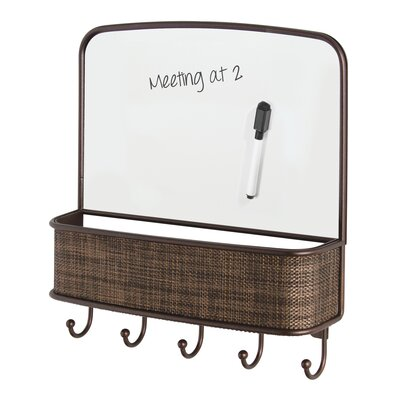 InterDesign Twillo Wall Mount Dry Erase Mail Center and Key Hook ...