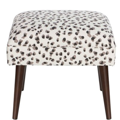 House of Hampton Joanne Snow Leopard Linen Ottoman