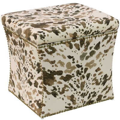 World Menagerie Eindhoven Cow Natural Nail Button Storage Ottoman