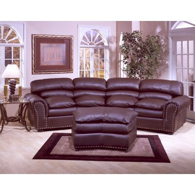 Omnia Leather Williamsburg 4 Seat Conversation Leather Sofa Room Set