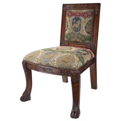 Design Toscano Beardsley Heraldic Lion Fabric Side Chair