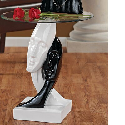 Design Toscano Lovers in Black and White Sculptural End Table