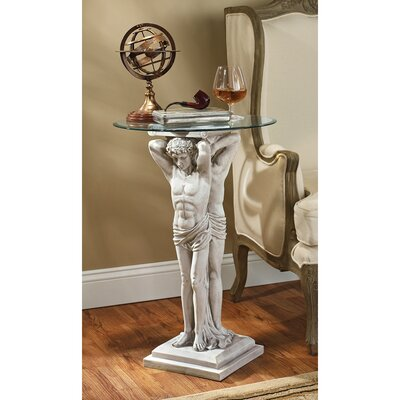 Design Toscano Hermitage Atlantes Glass - Topped Pedestal End Table