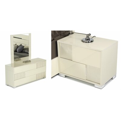 VIG Furniture Modrest Ancona 3 Drawer Dresser with 2 Nightstands