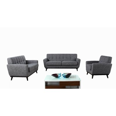 Wade Logan Thayne 3 Piece Corsair Modern Sofa Set