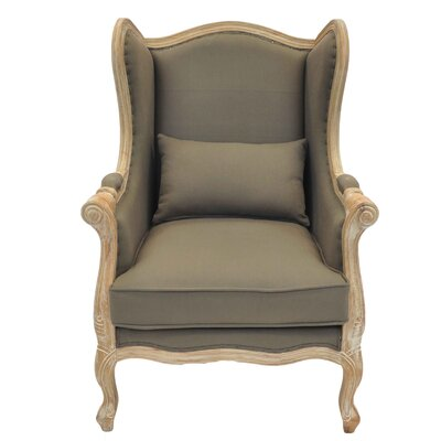 New Pacific Direct Guinevere Wing Burlap Armchair