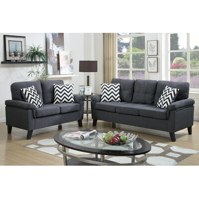 Poundex Bobkona Tyler 2 Piece Sofa and Loveseat Set