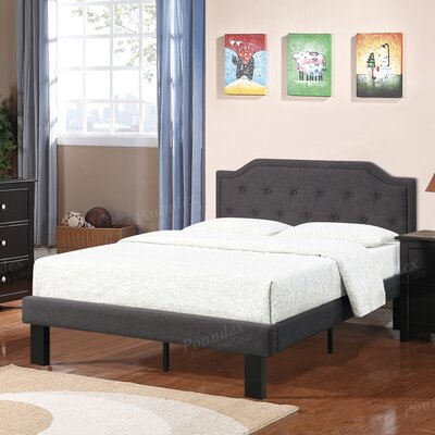 Poundex Bobkona Finely Twin Upholstered Panel Bed
