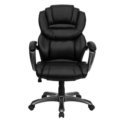 Flash Furniture Personalized High-Back Leather Executive Chair with Leather Padded Loop Arms