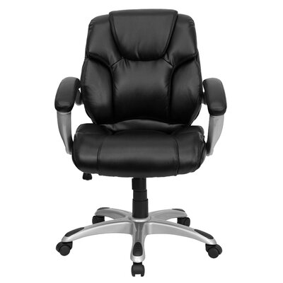 Flash Furniture Leather Conference Chair with Titanium Base and Thick Padded Arms