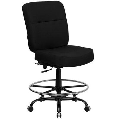 Flash Furniture Height Adjustable Hercules Series Big and Tall Leather Drafting Stool with Extra Wide Seat