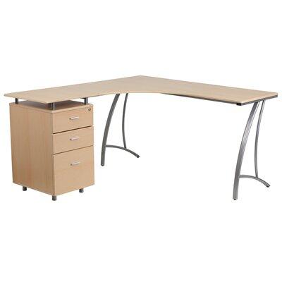 Flash Furniture L-Shaped Computer Desk with 3 Drawer Pedestal
