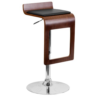 Flash Furniture Walnut Bentwood Adjustable Height Swivel Bar Stool