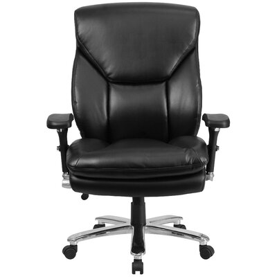 Flash Furniture Hercules Series Leather Swivel Chair with Lumbar Support Knob