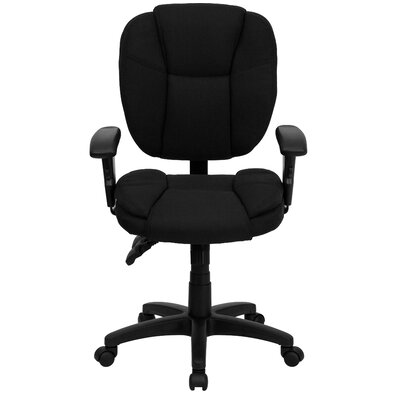 Flash Furniture Mid-Back Leather Multi-Functional Ergonomic Task Chair