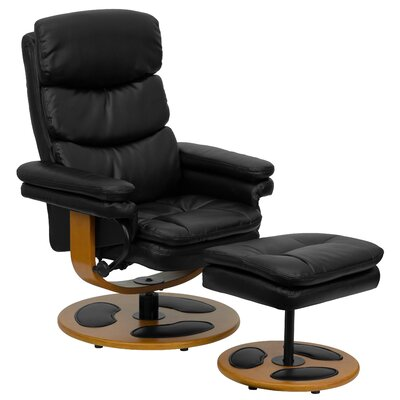 Flash Furniture Contemporary Leather Club Recliner and Ottoman