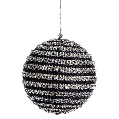 Tori home contemporary striped and sequined christmas ball for Contemporary ornaments for the home