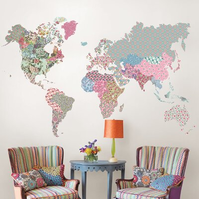 Boho World Map Wall Decal U0026 Reviews | Wayfair