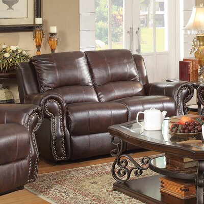 Wildon Home ® Leather Motion Reclining Loveseat
