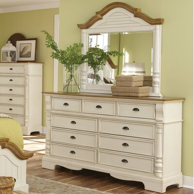August Grove Bellevue 9 Drawer Dresser with Mirror
